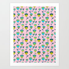 Tricolor Floral on Pink Art Print