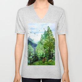 Mountain Forest Unisex V-Neck