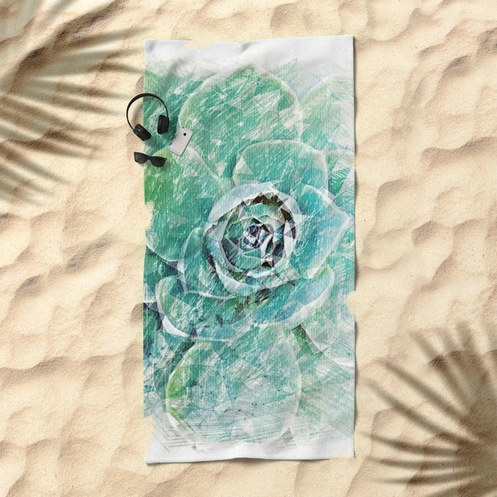 Greenery on Succulent Beach Towel