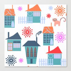 Houses pattern 5 Canvas Print