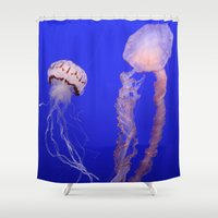 jelly fish Shower Curtains featuring jelly fish by Bunny Noir