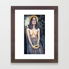 Girl With Papaya Framed Art Print