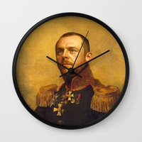 replaceface Wall Clocks featuring Simon Pegg - replaceface by replaceface