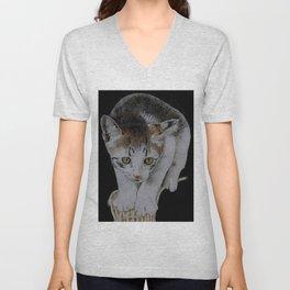Focused cat Unisex V-Neck
