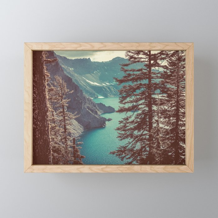 Vintage Blue Crater Lake and Trees - Nature Photography Framed Mini Art Print