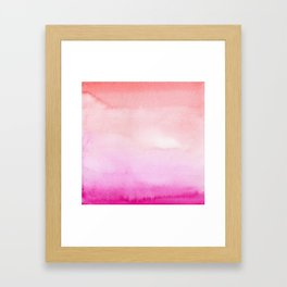watercolor gradient in pink and red Framed Art Print