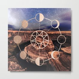 Mandala Southwest Desert Sun and Moon Phases Metal Print