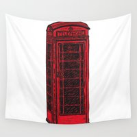 telephone Wall Tapestries featuring British Telephone Box by Carrie at Dendryad Art