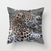 jaguar Throw Pillows featuring Jaguar by Veronika