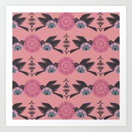 Blackbirds and Pink Blooms Art Print