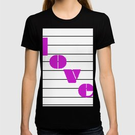 A love on many levels word pun in magenta notes descending black and white staff T-shirt