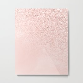She Sparkles Rose Gold Pastel Light Pink Luxe Metal Print