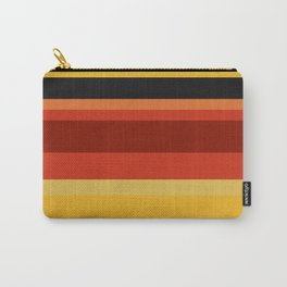 A super farrago of Police Blue, Ming, Khaki (Html/Css) (Khaki), Lanzones, Urobilin, Brownish Orange, Rusty Red, Brick Red and Chinese Black stripes. Carry-All Pouch