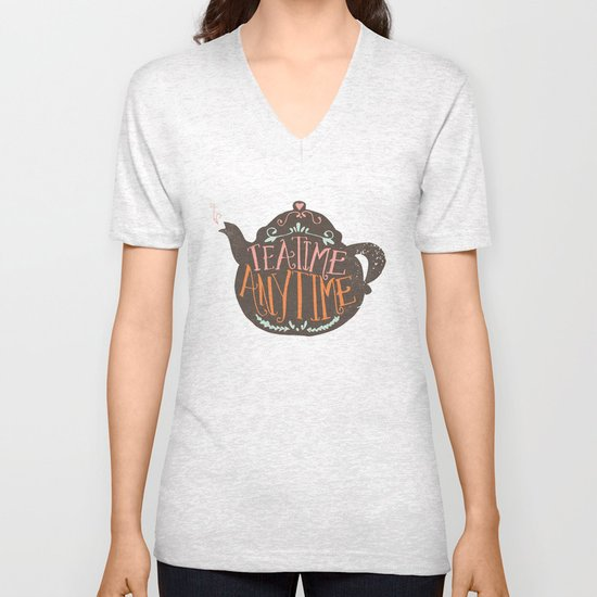 TEA TIME. ANY TIME. - color Unisex V-Neck