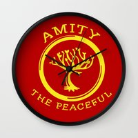 divergent Wall Clocks featuring Divergent - Amity The Peaceful by Lunil
