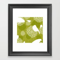 Pom Poms & Birds in Green by Friztin Framed Art Print
