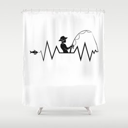 Hearbeat Of A Fisherman Heartrate Fishing Hobby Shower Curtain