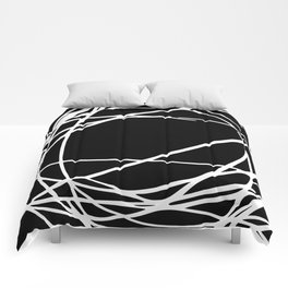Black and White Circles and Swirls Modern Abstract Comforters