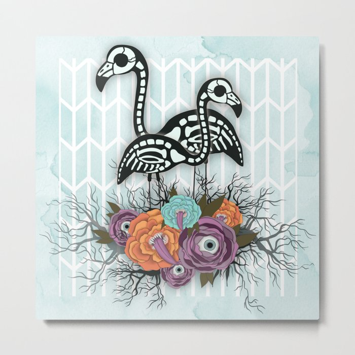 Flamingo Skeleton Halloween Composition Metal Print