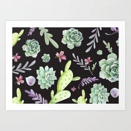 Cactus Watercolor Pattern 9 Art Print