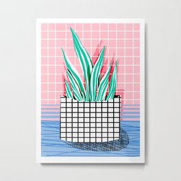 Glam - pop art memphis neon house plants throwback retro 80s style cool brooklyn style minimalism Metal Print