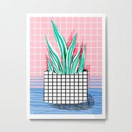 Glam - pop art memphis neon house plants throwback retro 80s style cool brooklyn style minimalism Metal Print