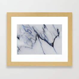 White Marble with Black and Blue Veins Framed Art Print