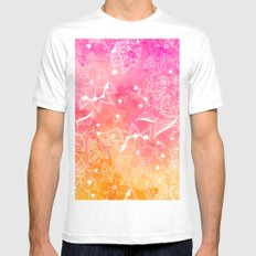 Modern summer pink orange sunset watercolor floral hand drawn illustration MEDIUM Mens Fitted Tee White
