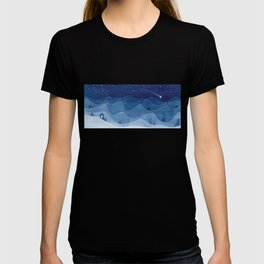 house in mountains, blue T-shirt