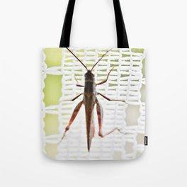 Grasshopper in lace curtain Tote Bag