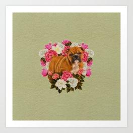 English Bulldog Puppy with flowers Art Print