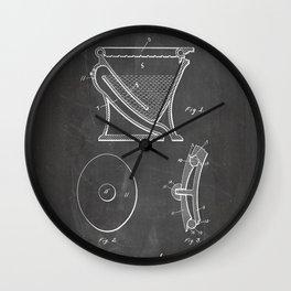 Toilet Patent - Bathroom Art - Black Chalkboard Wall Clock
