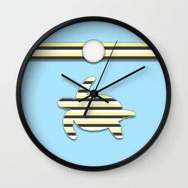 Sea Tortoise Blue and Yellow Stripe Pattern Design Wall Clock