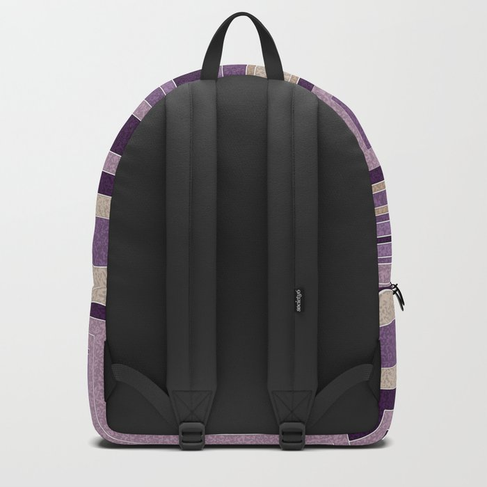 Abstract painting in purple and brown tones . Backpack
