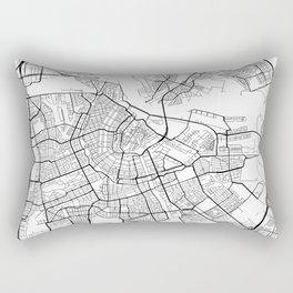 Amsterdam Map, Netherlands - Black and White Rectangular Pillow