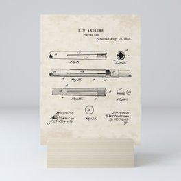 Fishing Rod Vintage Patent Hand Drawing Mini Art Print