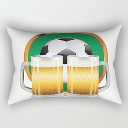 Beer glasses and Soccer Ball in green circle Rectangular Pillow