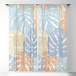 Monstera leaves Colorful Jungle leaves Palm leaves Tropical art Sheer Curtain