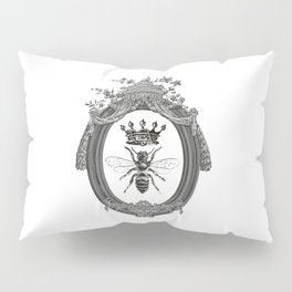 Queen Bee   Vintage Bee with Crown   Black, White and Grey   Pillow Sham