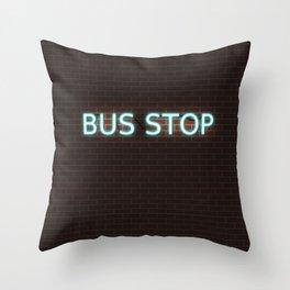 Bus Stop; Cyan Neon Sign on Brick Throw Pillow