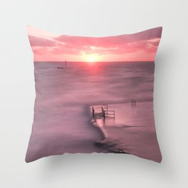 The Sea Pool Sunset, Bude, Cornwall, England, United Kingdom Throw Pillow