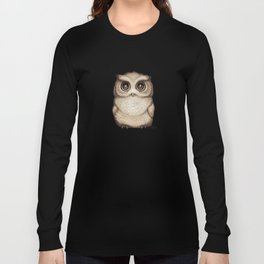 """""""The Little Owl"""" by Amber Marine ~ Graphite & Ink Illustration, (Copyright 2016) Long Sleeve T-shirt"""