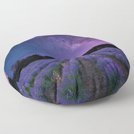 Milky Way over Lavender Fields Photographic Landscape Floor Pillow