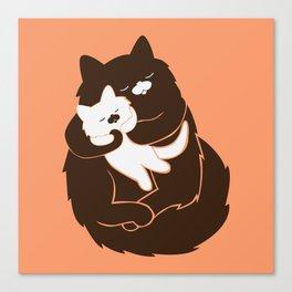 Mama Cat and Baby Kitten Peach Canvas Print