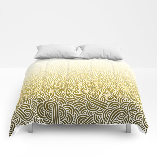 Ombre yellow and white swirls doodles Comforters