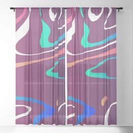 Swirls On Purple Abstract Design Sheer Curtain