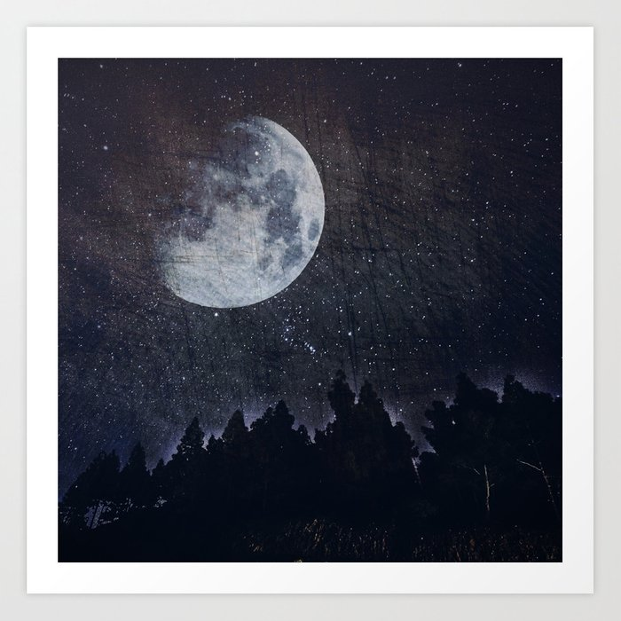 Starry moon  Art Print