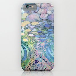 Contemplation - pebbles in water abstract by Jenlo iPhone Case
