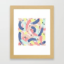 Colourful Brushstroke & Spot Artistic Pattern Framed Art Print