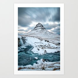 KIRKJUFELL MOUNTAIN & WATERFALL IN WINTER ICELAND LANDSCAPE Kunstdrucke